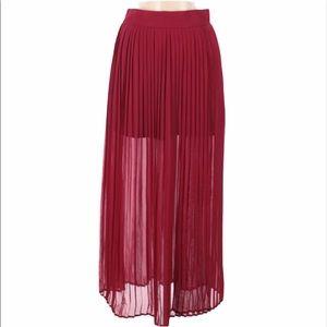 LIVING DOLL Pleated Mini Maxi Sheer Slit Skirt
